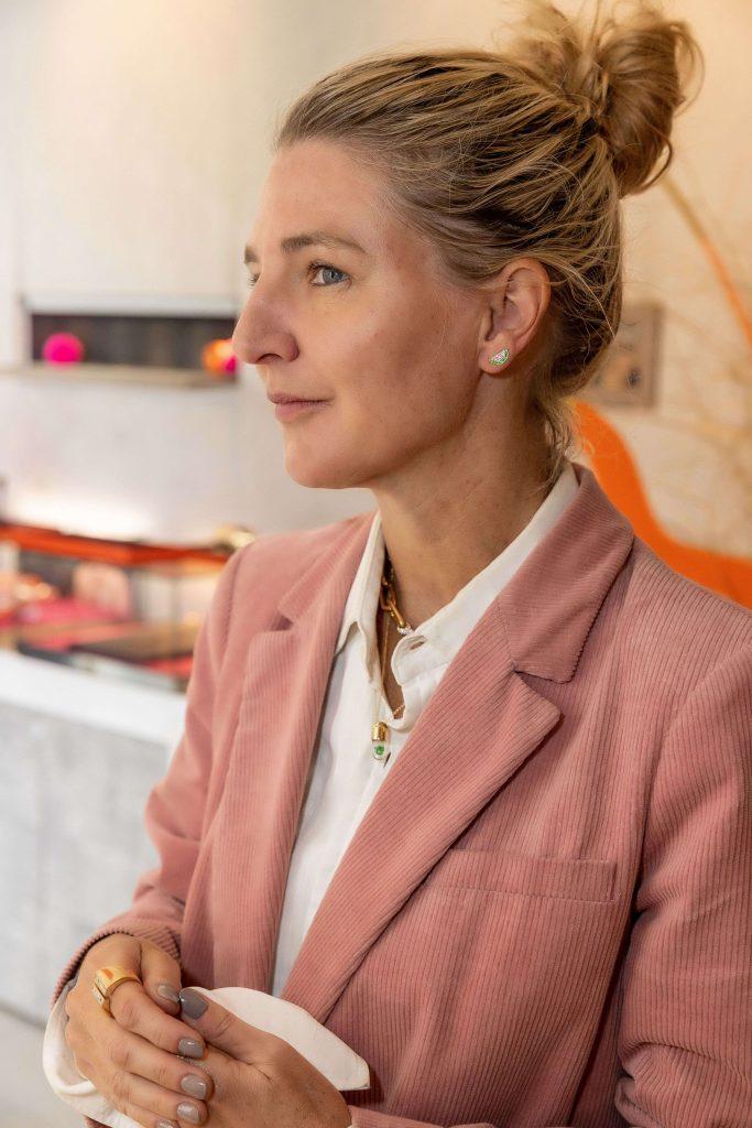 Condé Nast Traveller Editor, Melinda Stevens, modelling Robinson Pelham Ear Cuffs