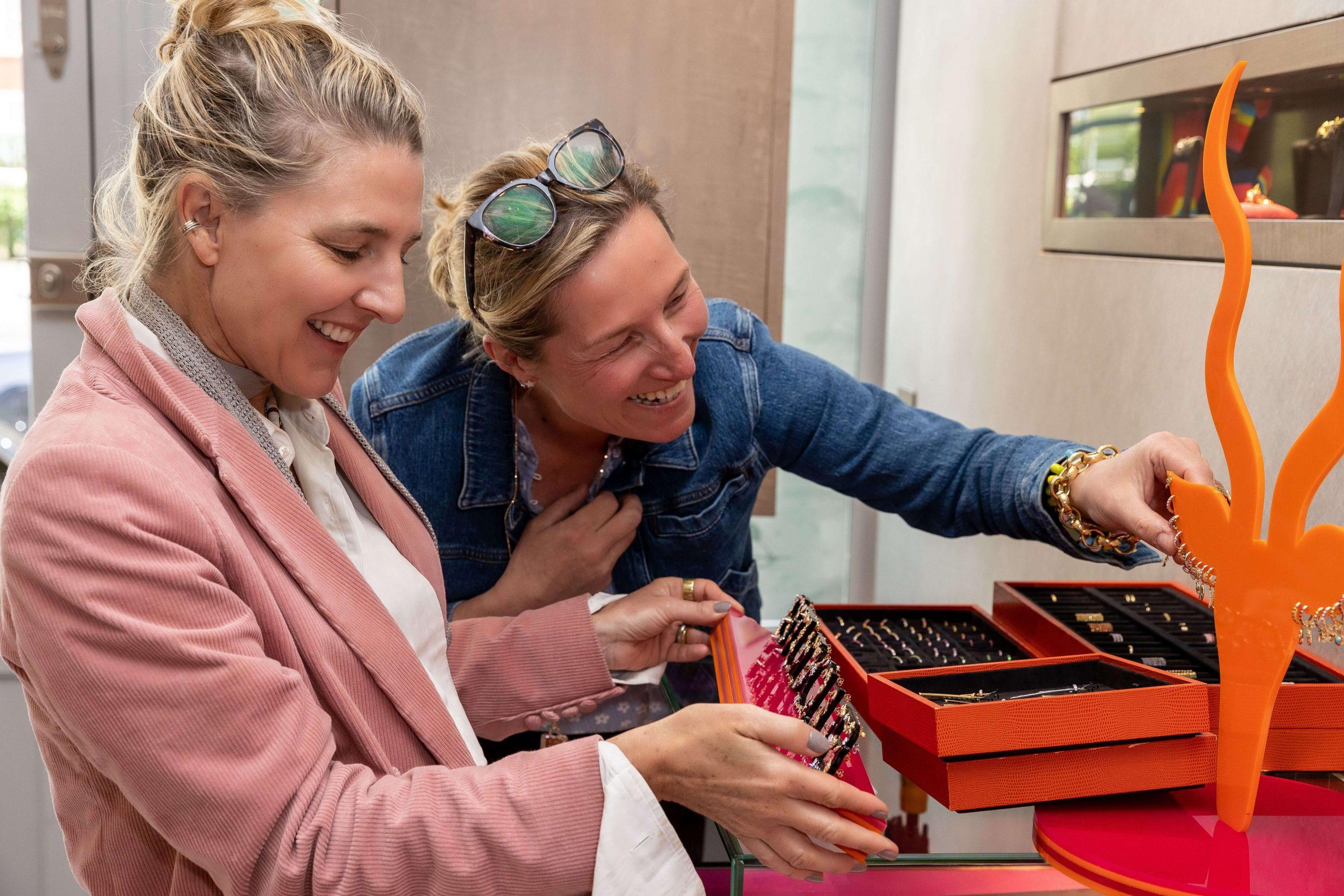 Condé Nast Traveller Editor Melinda Stevens choosing fine jewellery with Vanessa Chilton